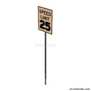 Дорожный знак ограничения скорости 25 миль / км в час (SAMPRoadSign39) [19986] на светлом фоне