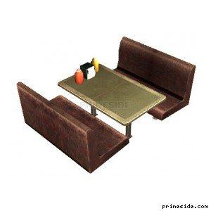 Столик из кафе и два небольших дивана (dinerseat_4) [2027] на светлом фоне