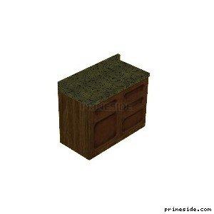 Деревянная кухонная напольная тумбочка с зеленым накрытием (CJ_K6_LOW_UNIT2) [2157] на светлом фоне