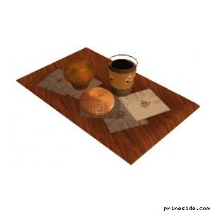 Wooden tray with coffee and two muffins (rustylow) [2221] on the light background