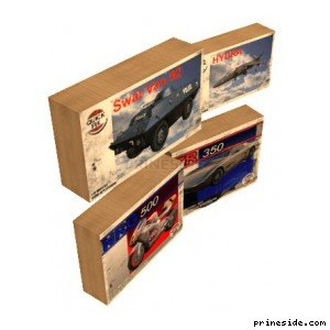 Boxes of toy cars and motorcycles (MODEL_BOX9) [2480] on the light background