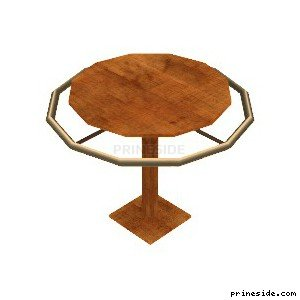 Wooden round table with metal rim around (CJ_DUDS_RAIL02) [2699] on the light background