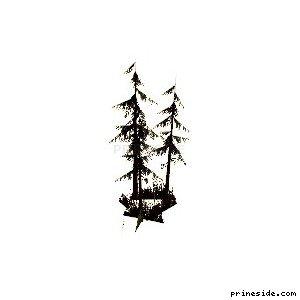 Комлекс хвойных деревьев с кустами (sm_fir_scabg) [688] на светлом фоне