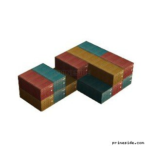 Folded together freight containers (plantbox17) [7317] on the light background