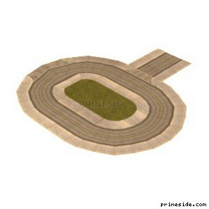 Small oval circular road with an island of grass in the middle (vegasNroad08) [7605] on the light background
