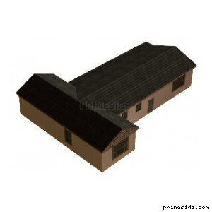 Single storey Villa in the shape of the letter T with a black roof (Villa_SFN_CHRIS_02) [9221] on the light background