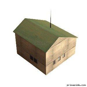 Двухэтажный дом с зеленой крышей (hrbrmstr_SFN01) [9247] на светлом фоне